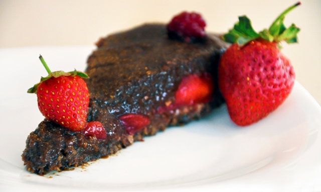 Raw Vegan Chocolate and Strawberry Cake Slice