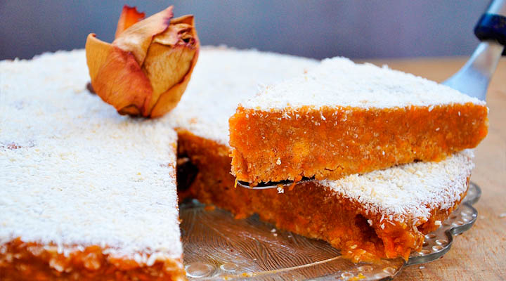 Pumpkin cake coconut  rose Slice