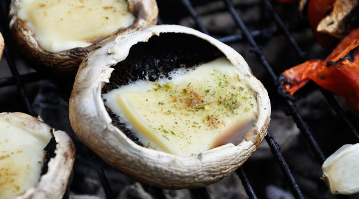 Grilled Portobello Mushrooms with Cheese