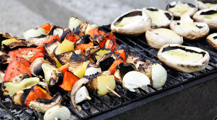 Veggie Skewers and Mushrooms on the Grill