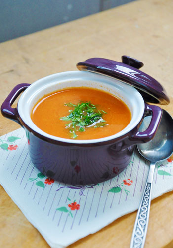 Roasted Tomato Soup with Crunchy Sweet Corn Recipe