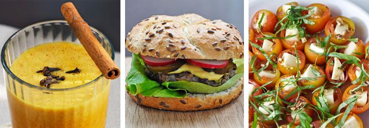 Caprese Salad Bites, Azuki Beans Veggie Burger, Pumpkin Smoothie - Menu Plan Gourmandelle.com