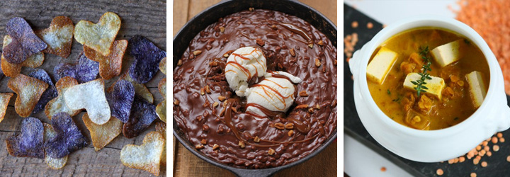 Homemade Potato Chips, Gooey Chocolate Skillet Cake Ice Cream Sundae, Red Lentil Stew with Tofu - Menu Plan Gourmandelle.com