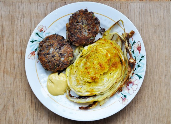 Oven Roasted Cabbage with Azuki Bean Patties