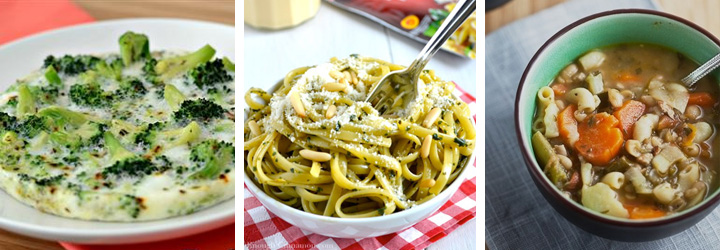 Simple Baked Eggs, Skinny Pesto Cream Pasta, Spring Vegetable Soup with Pesto - Menu Plan Gourmandelle.com