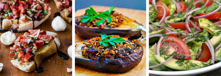 Tomato Basil Bruschetta, Stuffed Eggplants, Garden Salad - Menu Plan Gourmandelle.com