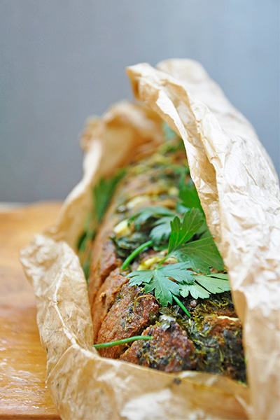 Hunters bread stuffed with cheese and herbs recipe