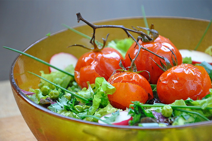 Summer Veggie Salad with Roasted Cherry Tomatoes