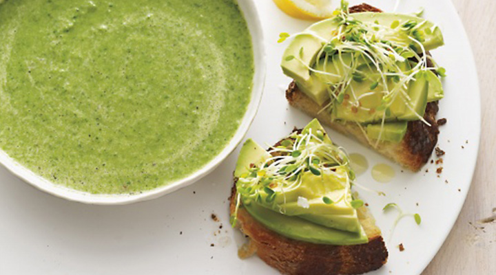 Broccoli-Spinach Soup with Avocado Toasts