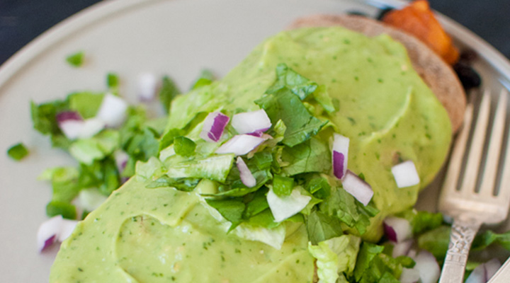 Healthy Avocado Recipes Sweet Potato Burrito Smothered in Avocado Salsa Verde