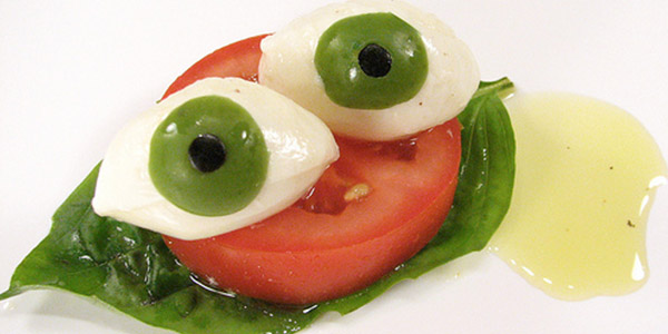 Eyeball Caprese  Vegetarian Halloween Recipe