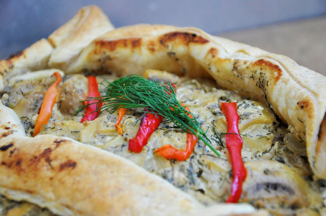 Pastry Tart with Mushrooms in Wine Sauce