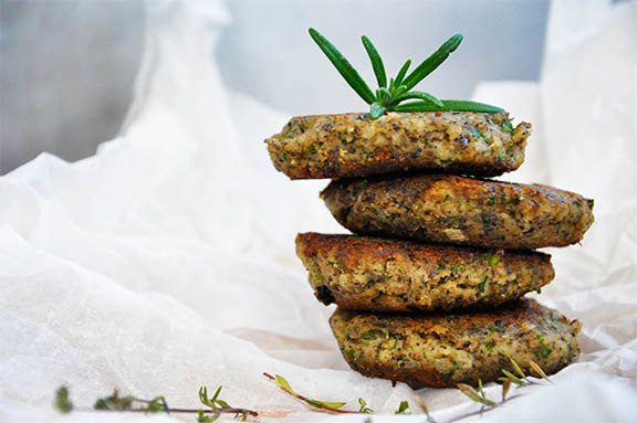 Protein-Rich Mushroom Hemp Patties with Herbs