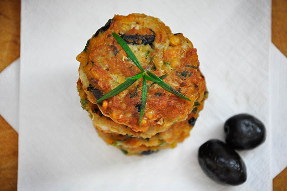 Lentil Patties with Olives and Herbs vegetarian
