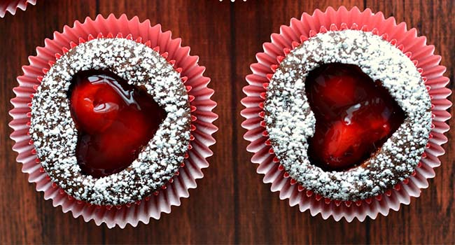 Cherry Heart Cutout Cupcakes for Valentine's Day