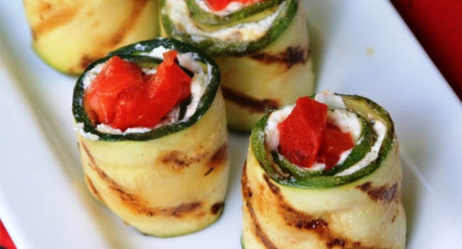 Grilled Zucchini Rolls Vegetarian Valentine's Day Dinner Recipes
