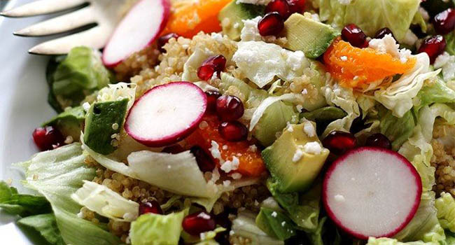 Pomegranate Citrus Quinoa Salad and Cranberry Pomegranate Vinaigrette
