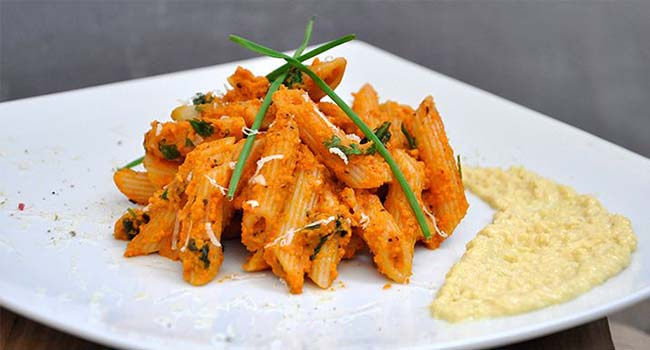 Spicy Carrot Penne Pasta with Mustard and Parsnip Sauce