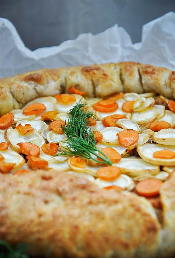 Vegetarian Root Vegetables Rustic Tart with Mushrooms recipe