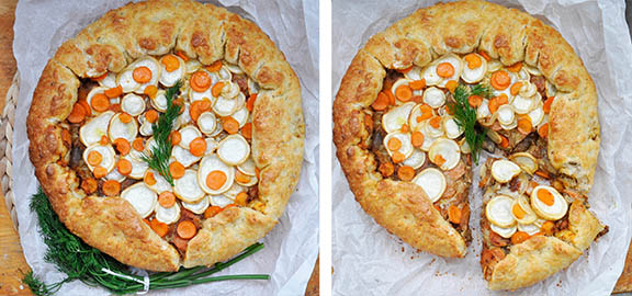Vegetarian Root Vegetables Rustic Tart with Mushrooms slice