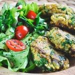 Green Chickpea Patties with Tahini | Chiftelute de naut cu verdeturi si tahini