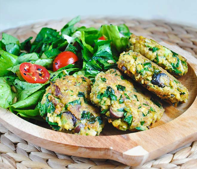 Green Chickpea Patties with Tahini | Gourmandelle