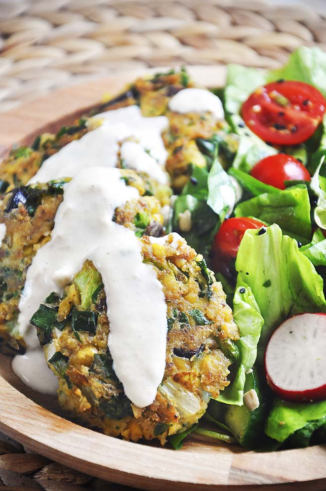 Green Chickpea Patties Tahini