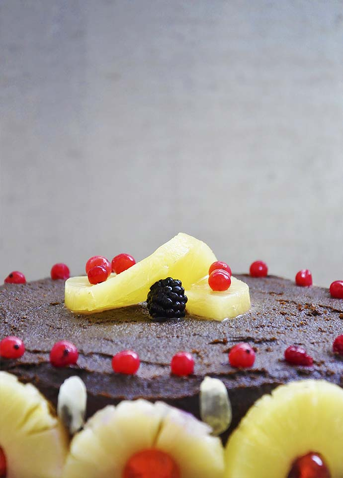 Gluten-Free Chocolate Cake with Berries and Pineapple recipe