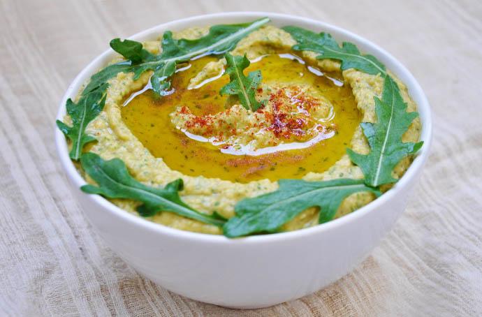 Arugula Hummus cu rucola recipe