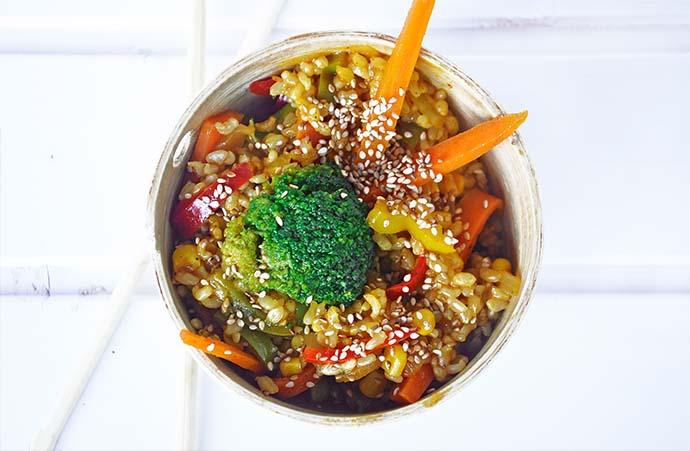 Macrobiotic Stir Fry Veggies Rice vegetarian