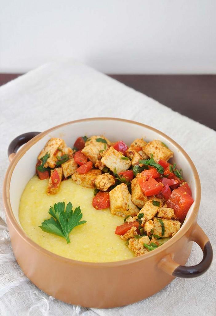 Best Creamy Polenta recipe tofu pepper saute mamaliga cremoasa