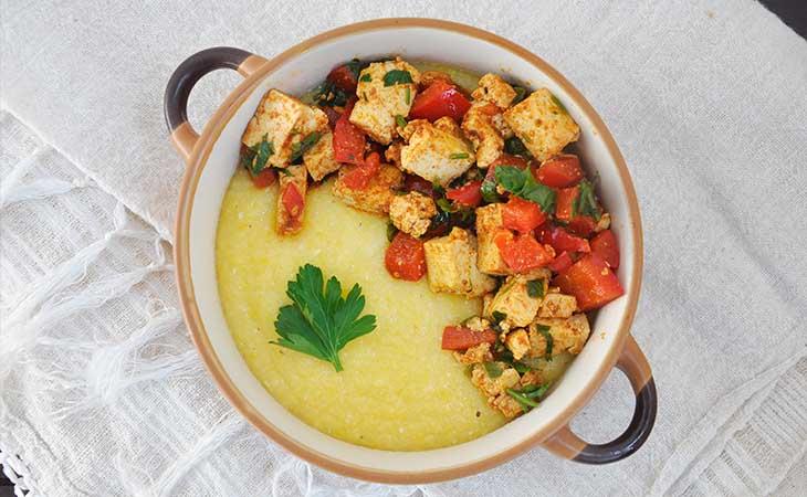 Best Creamy Polenta recipe tofu pepper saute mamaliga cremoasa sote