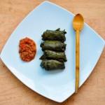 Vegetarian Mushroom and Brown Rice Dolmas Plate   Sarmale vegetariene in foi de vita