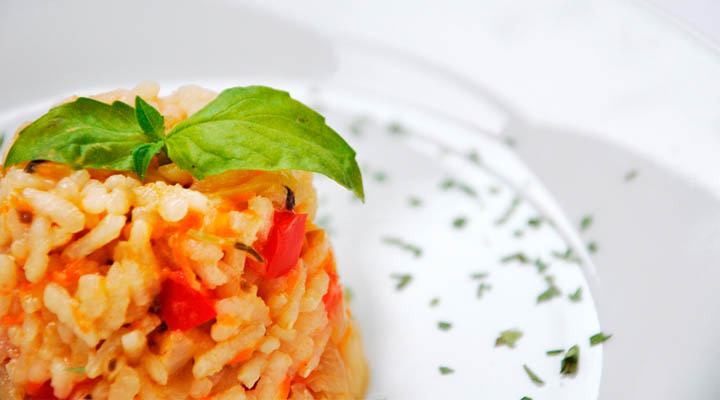 Vegetarian Serbian Rice Pilaf Basil Garnish