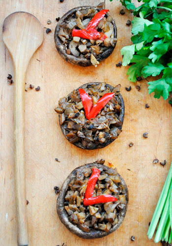 Basic Stuffed Portobello Mushrooms Parsley Garnish