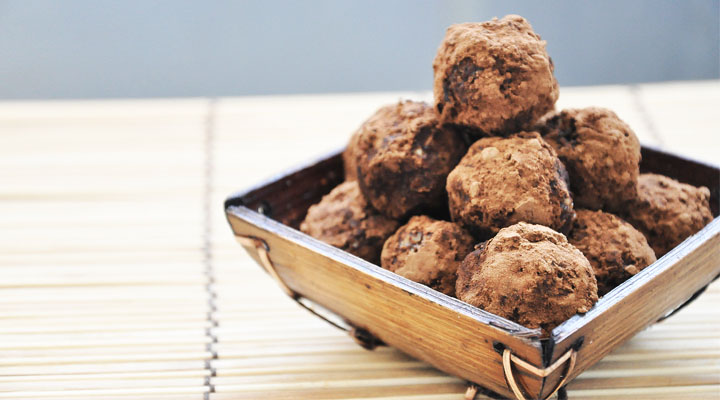 Raw Carob & Almonds BonBons dessert - almond-chocolate truffles