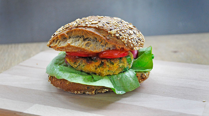 Red Lentil Veggie Burger Patties with Greens