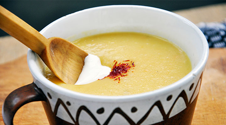 Yellow Peas Creamy Soup with Saffron and Sour Cream