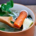 Clear Veggie Noodle Soup Gourmandelle.com | Supa de legume cu taitei