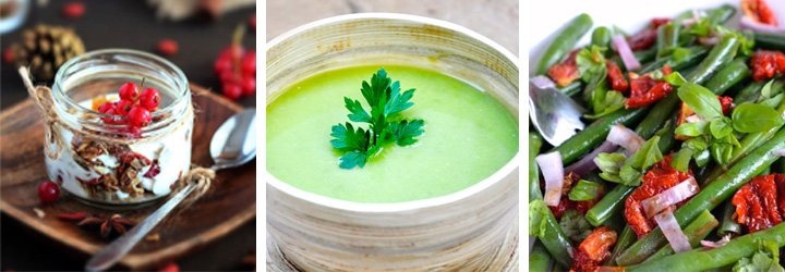 Green Bean Salad, Home Made Granola, Creamy Peas Soup - Menu Plan Gourmandelle.com