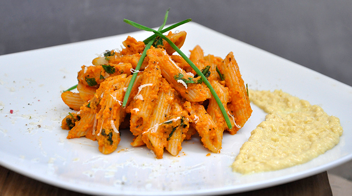Penne with Creamy Carrot Sauce Pasta Recipe vegan dinner recipes