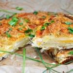 Potato Cheese Tart Slice, Tarta vegetariana de cartofi cu telemea, Tarta cu cartofi