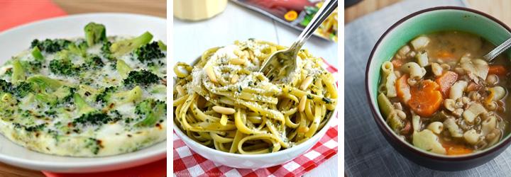 Simple Baked Eggs, Skinny Pesto Cream Pasta, Spring Vegetable Soup with Pesto - Menu Plan Gourmandelle.com