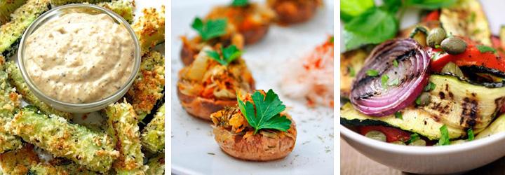 Zucchini Sticks, Stuffed Button Mushrooms, Grilled Veggie Salad - Menu Plan Gourmandelle.com