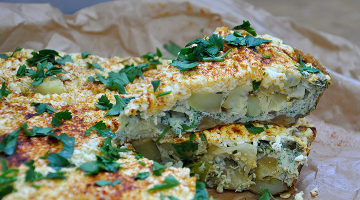 Baby Potatoes Frittata with Cheese recipe