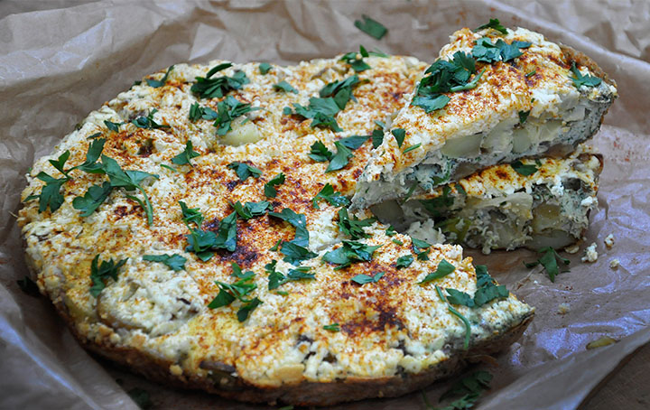 Vegetarian Baby Potatoes Frittata with Cheese