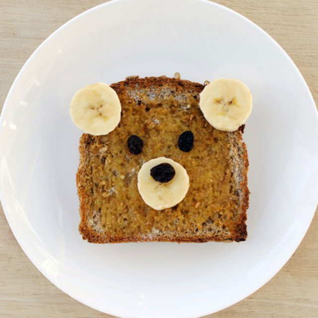 foods for kids bear peanut butter and banana sandwich