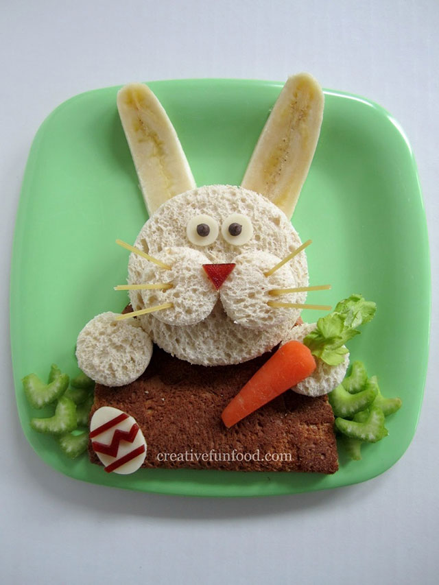 fun foods for kids easter bunny sandwich