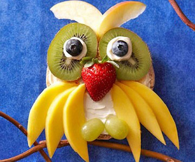 fun foods for kids owl fruits dessert