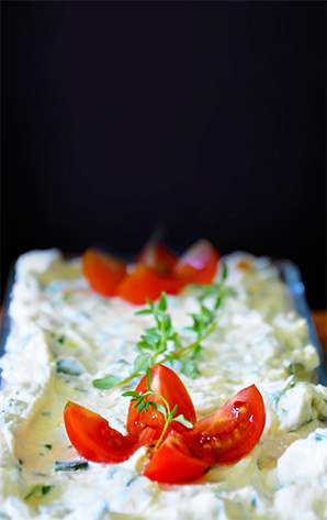 smooth cream cheese with herbs